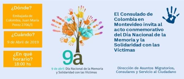 El Consulado de Colombia en Montevideo invita al acto conmemorativo del Día Nacional de la Memoria y la Solidaridad