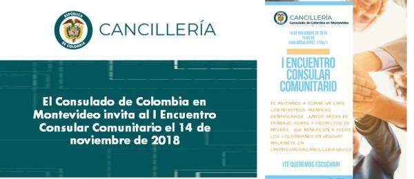 Consulado de Colombia en Montevideo invita al I Encuentro Consular Comunitario el 14 de noviembre